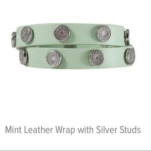 Mint Green Leather Wrap with Silver Studs